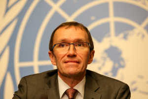 Espen Barth Eide, UN Special Advisor of the Secretary-General on Cyprus during a press conference at the UN in Geneva. Photo: Action Press/P.-M Virot
