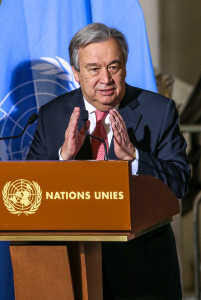 TALKING POINT AT THE UN IN GENEVA CONCERNING CYPRUSUN Secretary-General Antonio Guterres during a press briefing to the press. He was accompanied by HE Mustafa Akinci, President of Northern Cyprus (left- turkish part) and HE Nicos Anastasiades, President of Cyprus (right greek part).